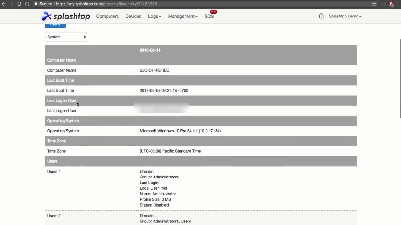 系统清单 - Splashtop Remote Support Premium