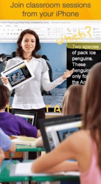 app iPhone em sala de aula