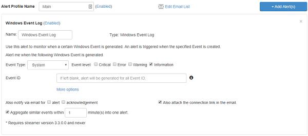 Windows事件警报