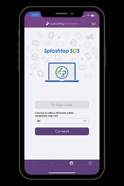 La fonctionnalité SOS de l'application Splashtop Business pour iPhone