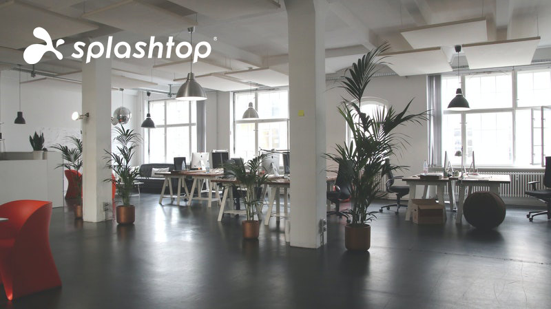 Ein Büro, auf das Remote-Mitarbeiter mit einem Tool zugreifen können Splashtop