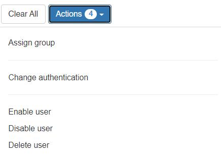 Opciones de gestión de usuarios en masa
