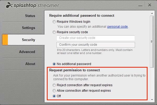 Ability to set up a pop-up request for remote access