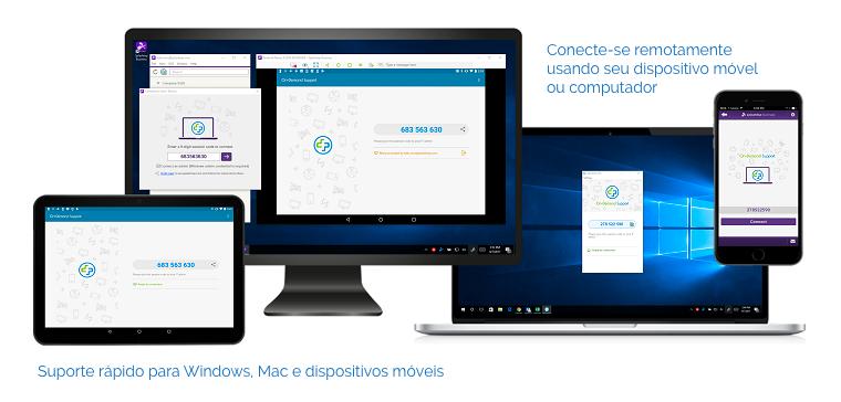 Suporte rápido para Windows, Mac e dispositivos móveis