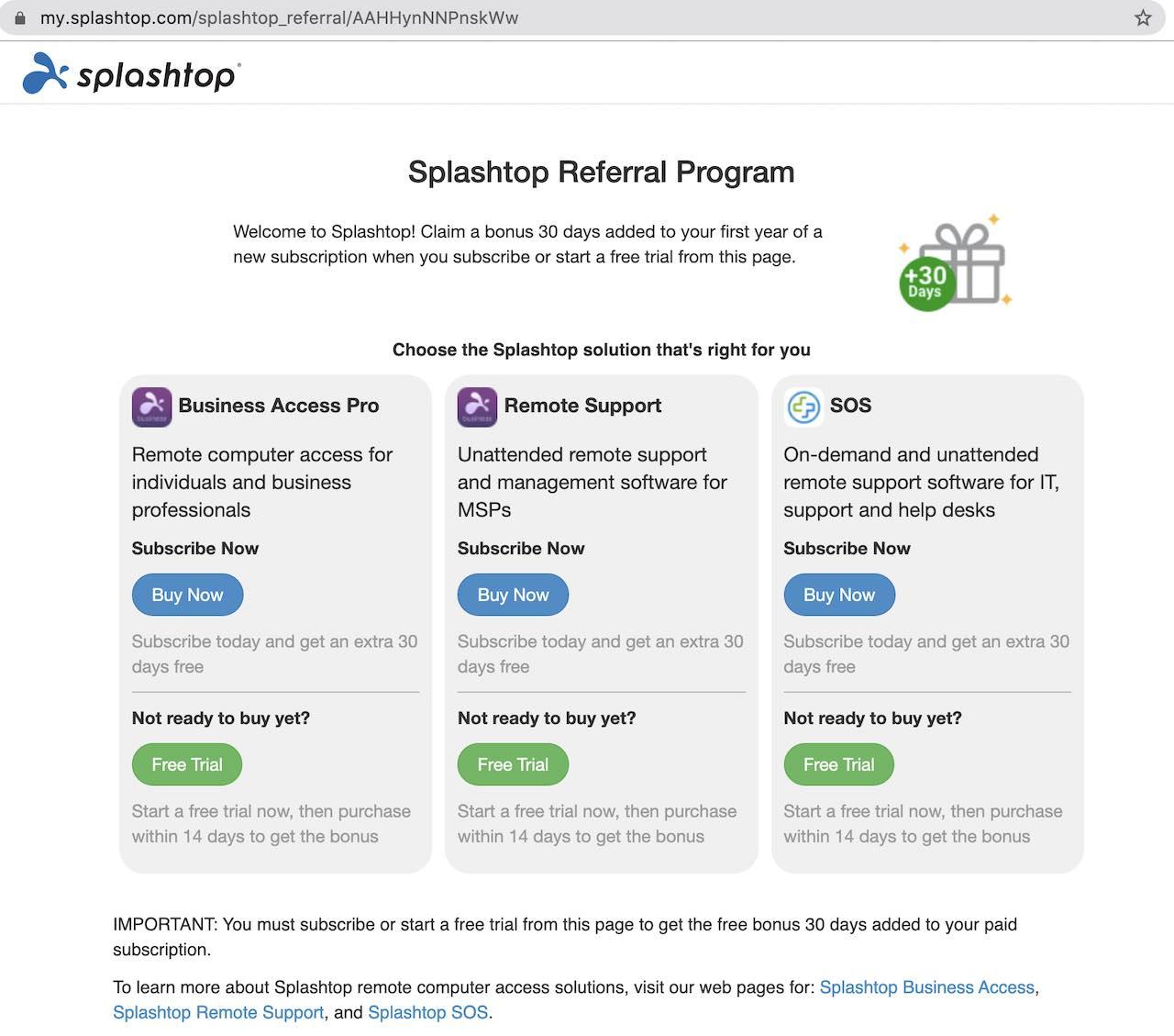 人們通過Splashtop推薦計劃推薦時看到的內容