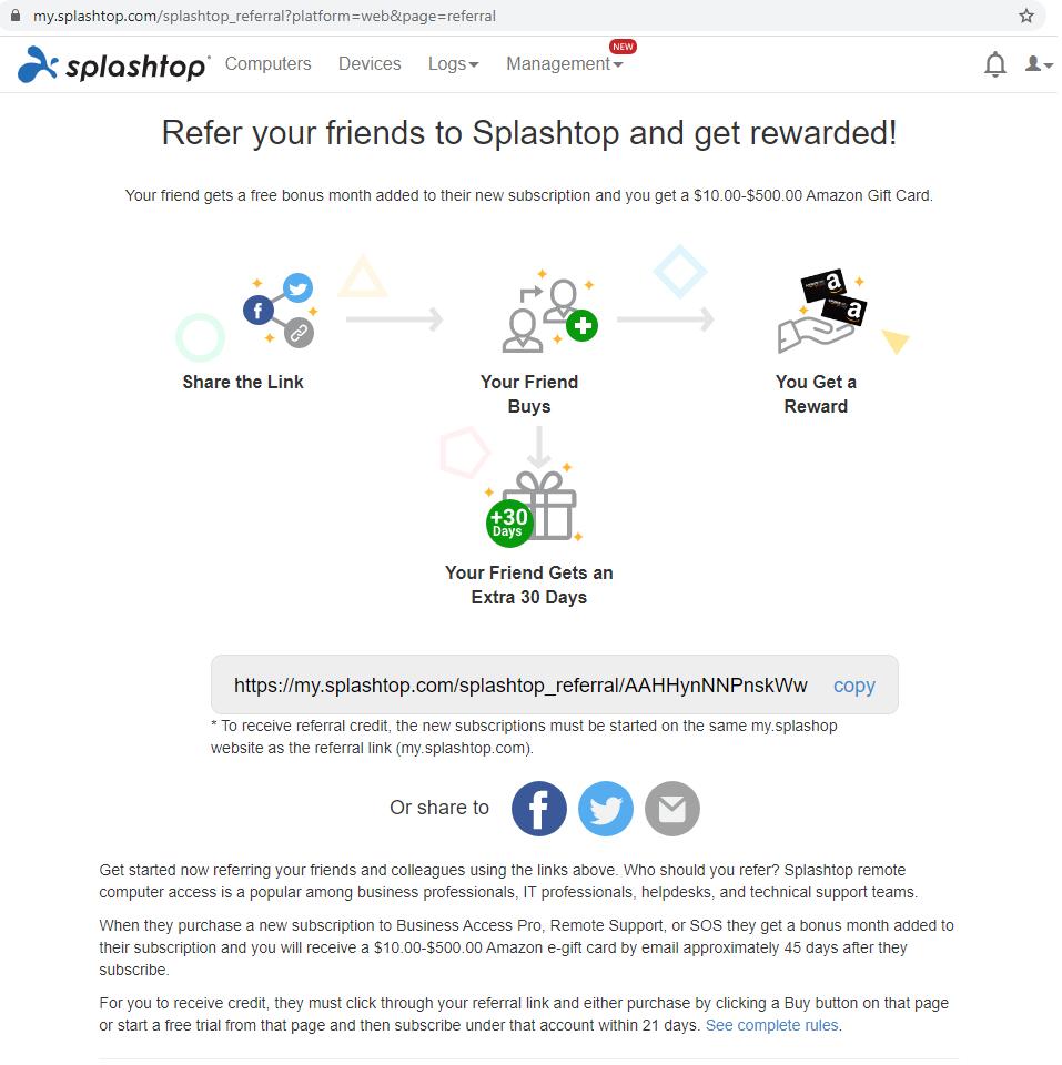Splashtop推薦計劃門戶